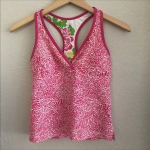 Athleta Pink Floral Tankini Top Small Racerback.